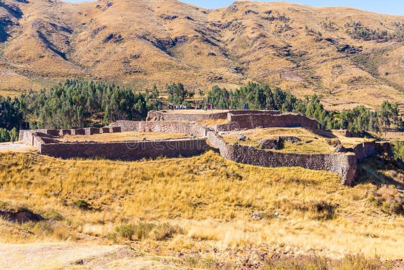 Puca Pucara, forntida Incafästning, Cuzco, Peru royaltyfria foton