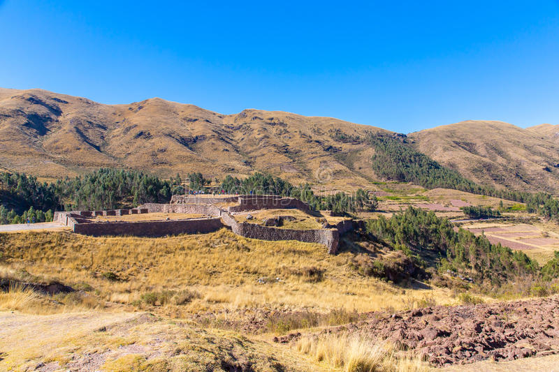 Puca Pucara, forteresse antique d'Inca, Cuzco, Pérou. photo stock