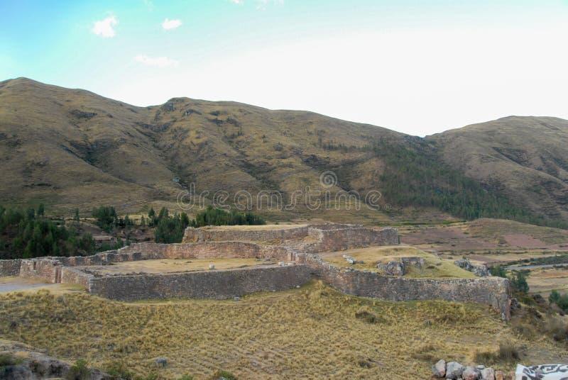 Puca Pucara, Inca-ruïnes - Cuzco, Peru stock afbeelding
