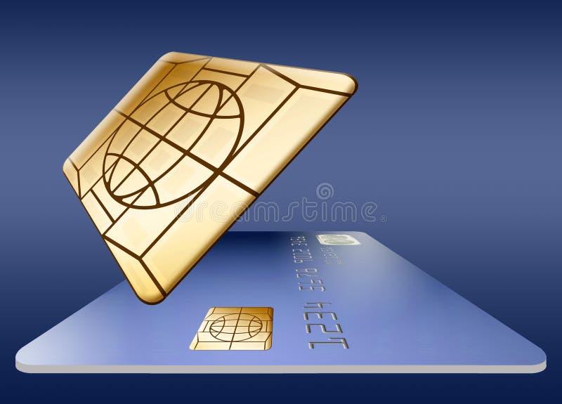 Puce d'EMV sur une carte de crédit illustration libre de droits