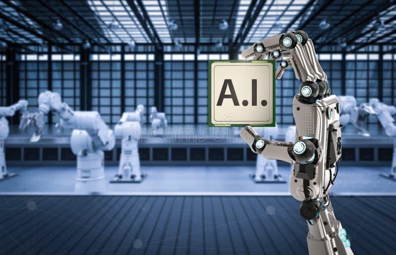 Puce d'unité centrale de traitement d'AI illustration de vecteur