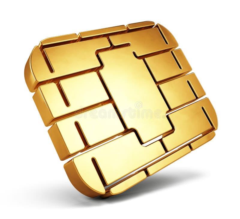 Puce de carte de crédit ou puce de carte de SIM Puce de carte d'isolement sur le blanc illustration stock