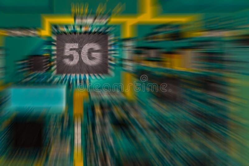 puce 5G sur le conseil de logique d'impression de dispositif image libre de droits