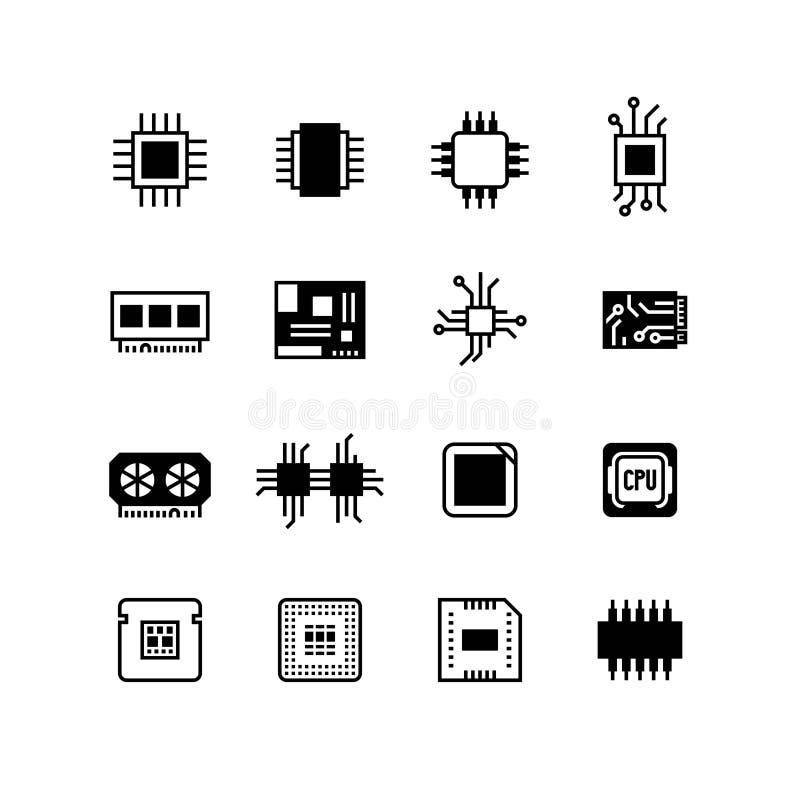 Puces électroniques d'ordinateur, carte mère, icônes de vecteur de processeur de matériel illustration stock