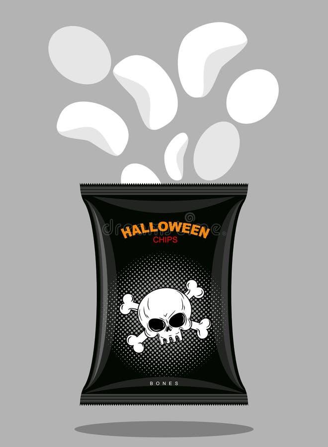 Puces avec un goût des os Casse-croûte pour Halloween effrayant dans le noir illustration de vecteur
