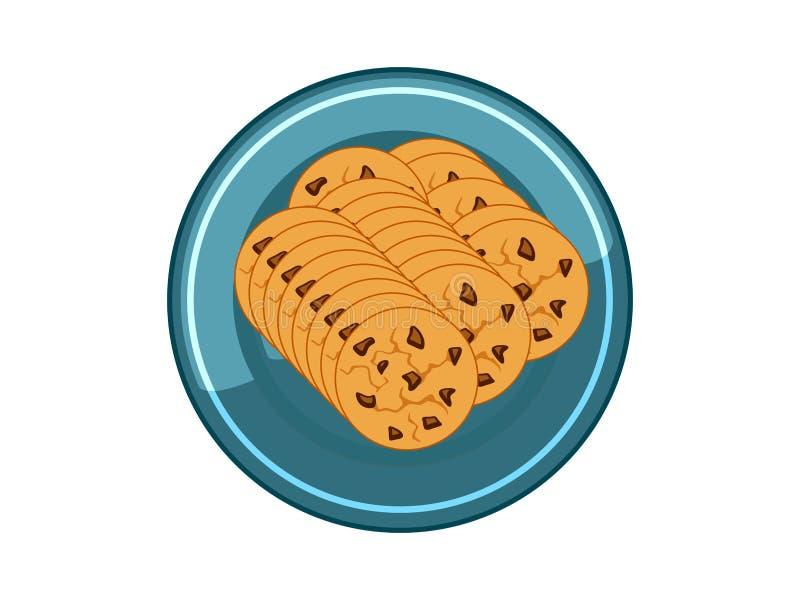 Puces de biscuits de chocolat de vecteur dans le plat bleu sur le fond blanc illustration de vecteur
