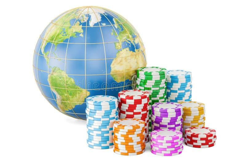 Puces de casino avec le globe de la terre Divertissement global et jeu illustration stock