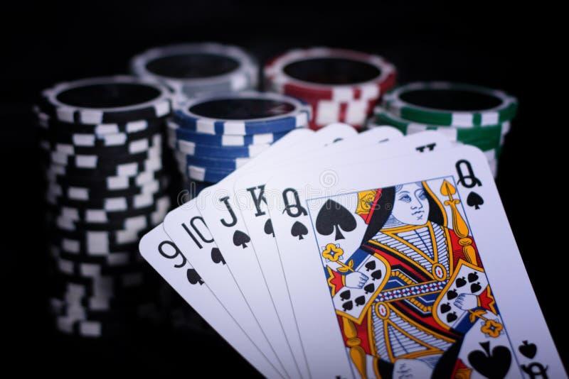 puces de casino jouant photographie stock
