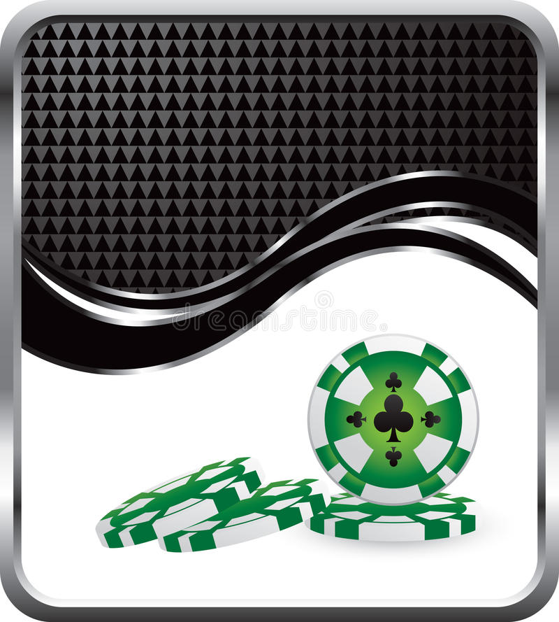 Puces de casino sur l'onde checkered noire illustration stock
