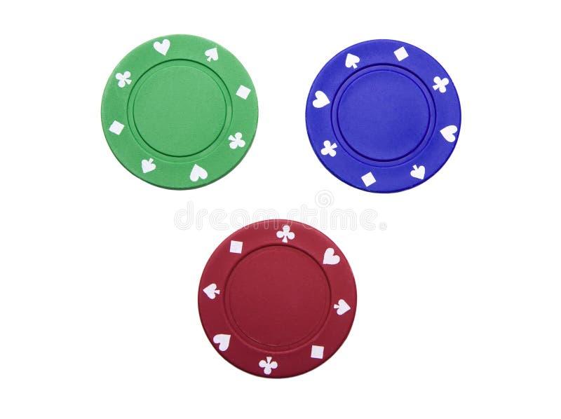 Puces de casino sur le blanc photographie stock libre de droits