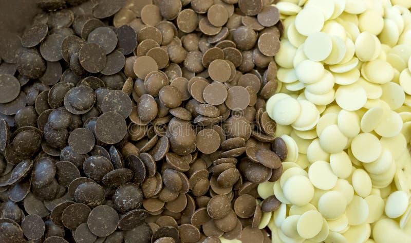 Puces de chocolat image stock