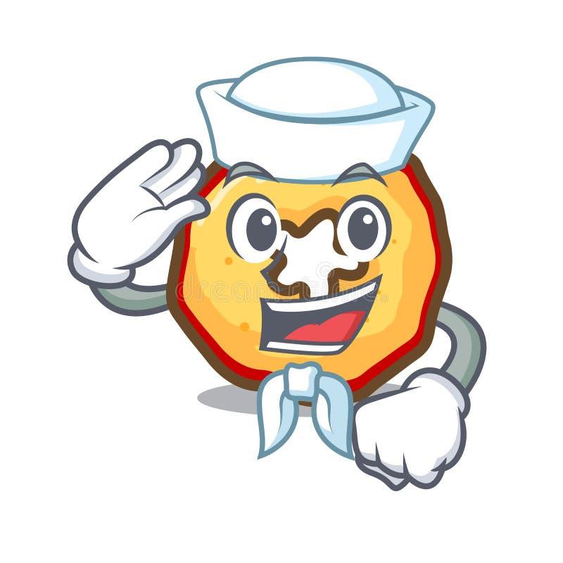 Puces de pomme de bande dessinée de marin dans une cuvette illustration stock