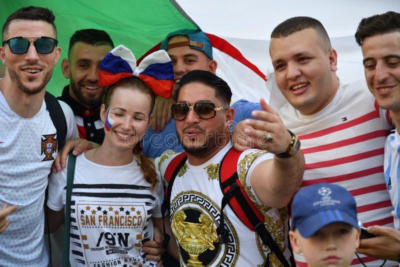 Puchar Świata 2018, fan piłki nożnej na ulicach Moskwa zdjęcie royalty free