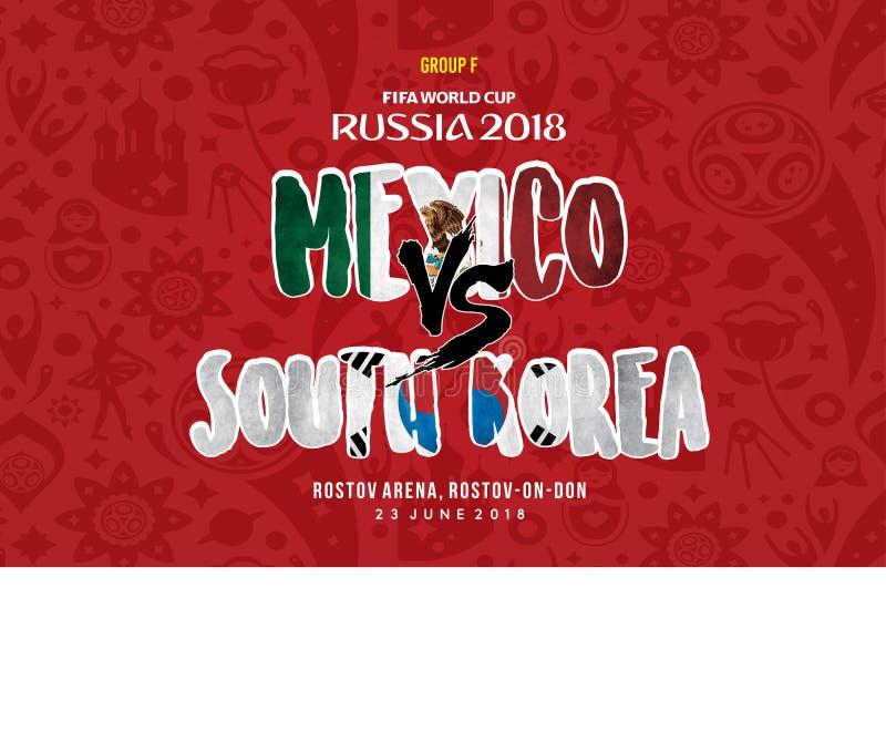 Puchar Świata Russia 2018 Grupa f Mexico vs południowy Korea royalty ilustracja