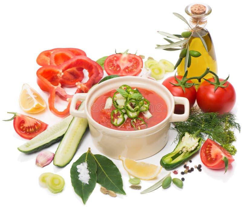 Puchar gazpacho z pomidorami, oliwa z oliwek i różnorodnymi warzywami, fotografia royalty free