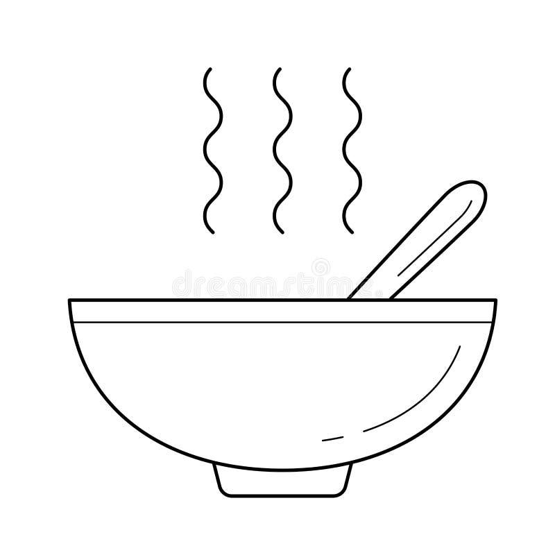 Puchar gorąca zupna wektor linii ikona ilustracji