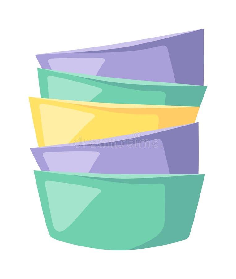 Puchar polewki stosu skład w wcielać kolor płaską wektorową ilustrację ilustracji