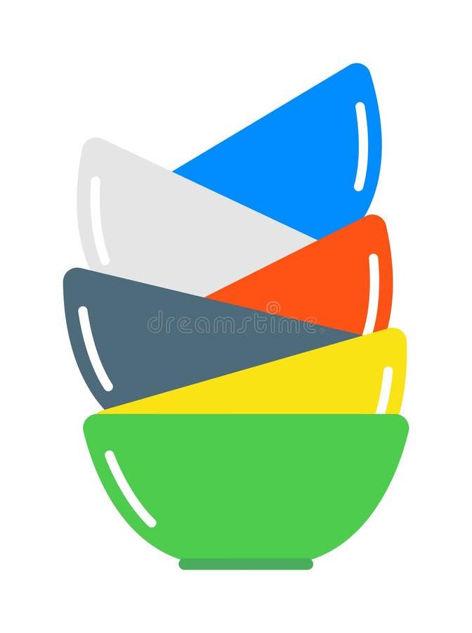 Puchar polewki stosu skład w wcielać kolor płaską wektorową ilustrację royalty ilustracja