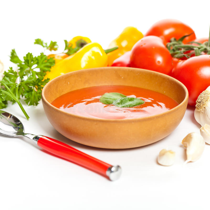 Puchar pomidorowa polewka zdjęcia royalty free