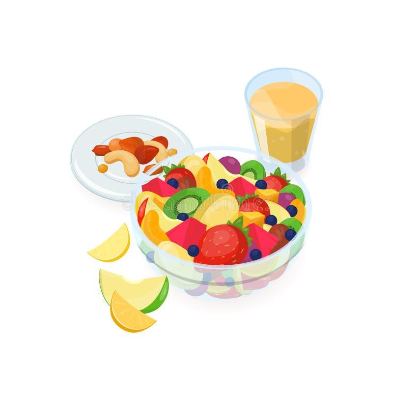 Puchar robić świeże egzotyczne owoc, szkło sok pomarańczowy i dokrętki kłama sałatka, na talerzu odizolowywającym na białym tle ilustracji