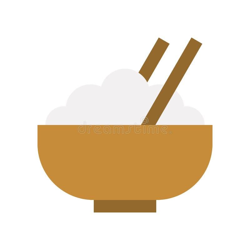 Puchar ryż, chopstick, jedzenia i gastronomy set, płaska ikona royalty ilustracja