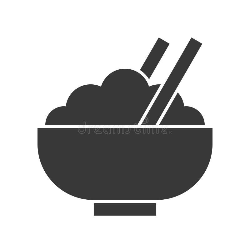 Puchar ryż i kotlecika kij, jedzenia i napoju set, glifu projekt ilustracji