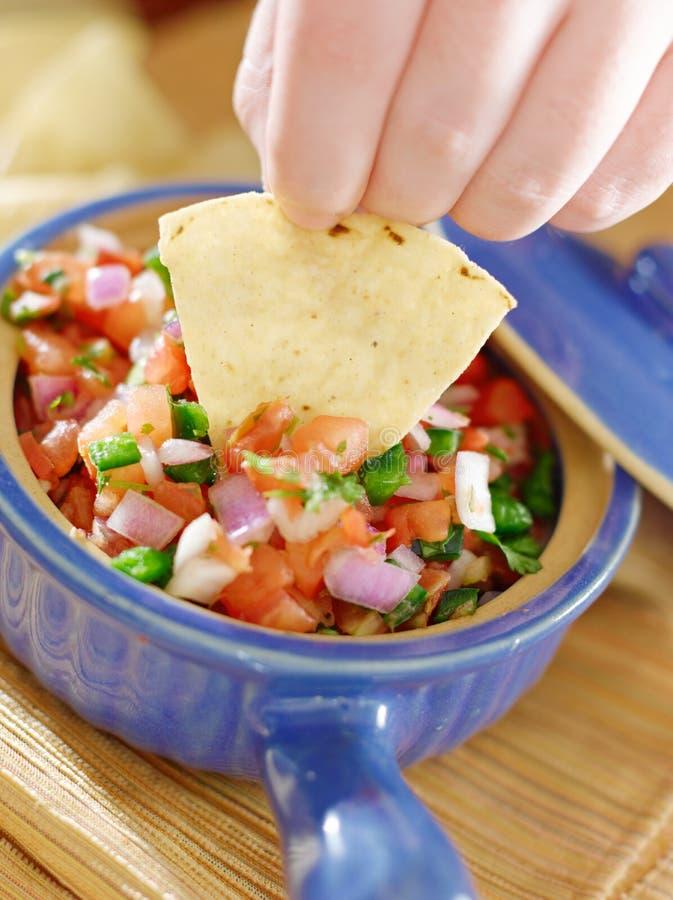 Puchar salsa z tortilla szczerbi się zbliżenie obraz stock