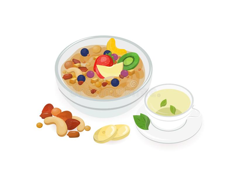 Puchar smakowita owies owsianka dekorował z świeżymi tropikalnymi owoc ilustracji