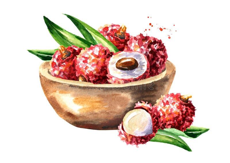 Puchar z dojrzałym lychee Akwareli ręka rysująca ilustracja, odizolowywająca na białym tle royalty ilustracja