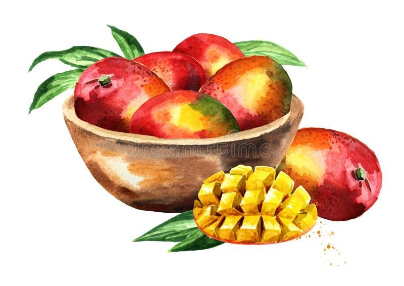 Puchar z dojrzałym mango Akwareli ręka rysująca ilustracja, odizolowywająca na białym tle royalty ilustracja