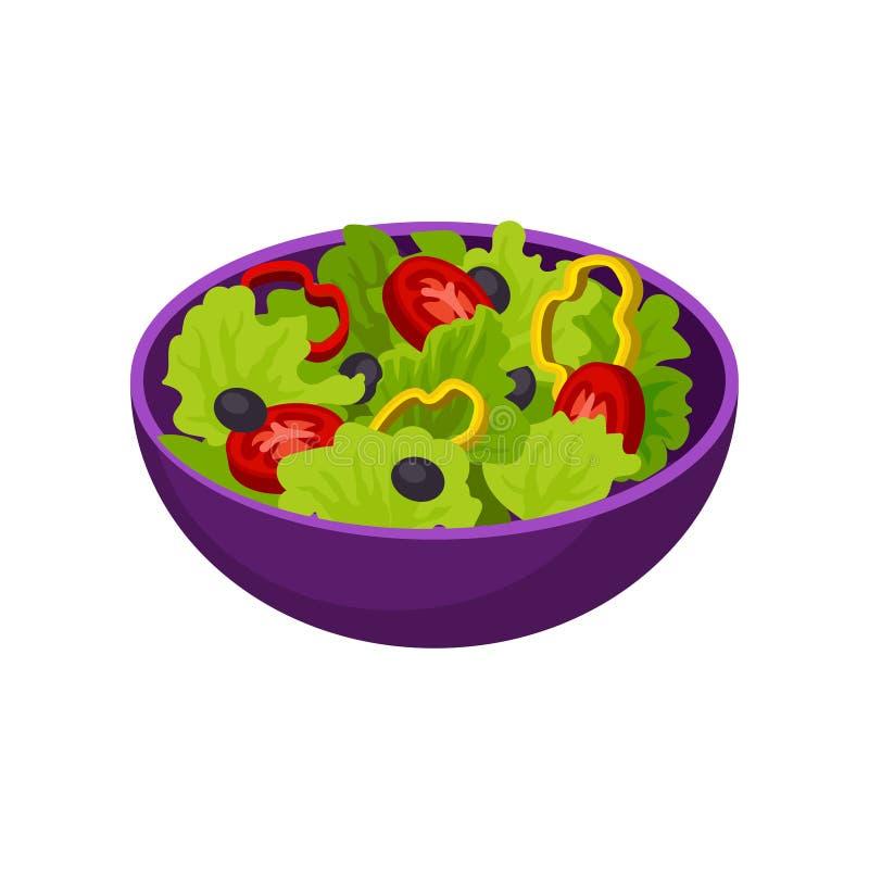 Puchar z jarzynową sałatką karmowy zdrowy naturalny Smakowity jarski naczynie Isometric wektorowy element dla cukiernianego menu ilustracja wektor