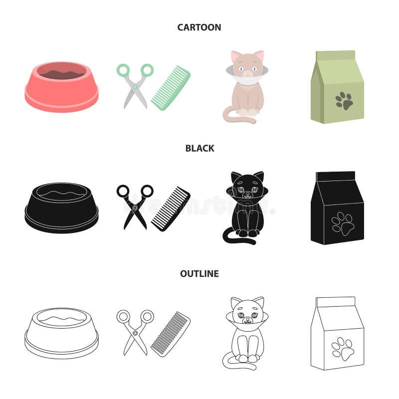 Puchar z jedzeniem, ostrzyżenie dla kota, chory kot, pakunek karmy przy ustalonymi inkasowymi ikonami w kreskówce, czerń, kontur royalty ilustracja