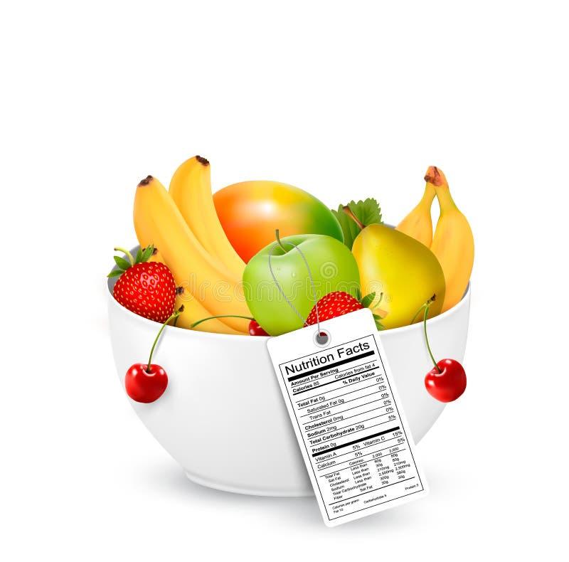 Puchar zdrowa owoc z odżywki etykietką royalty ilustracja