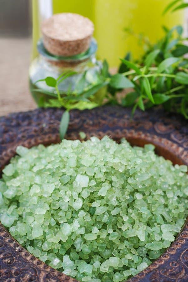 Puchar zielonego morza sól zdjęcia royalty free