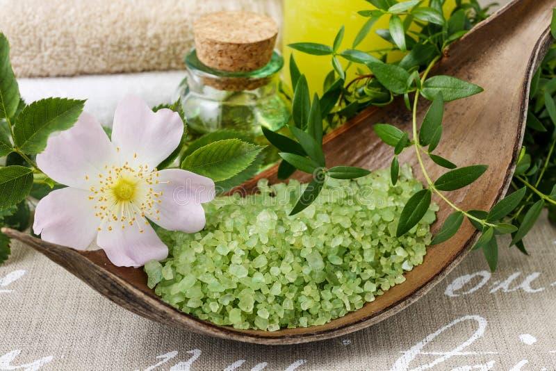 Puchar zielonego morza sól zdjęcie stock