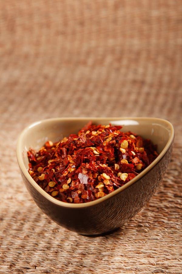 pucharu chili zdruzgotana gorącego pieprzu czerwień obraz royalty free