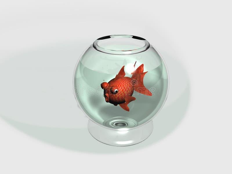 Pucharu i goldfish Carassius royalty ilustracja