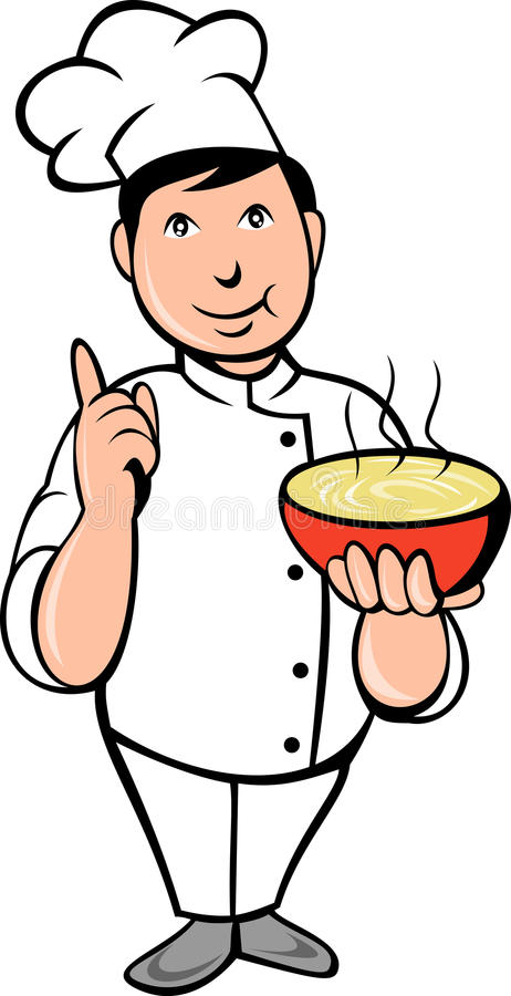 pucharu kreskówki szef kuchni kucharza polewka royalty ilustracja