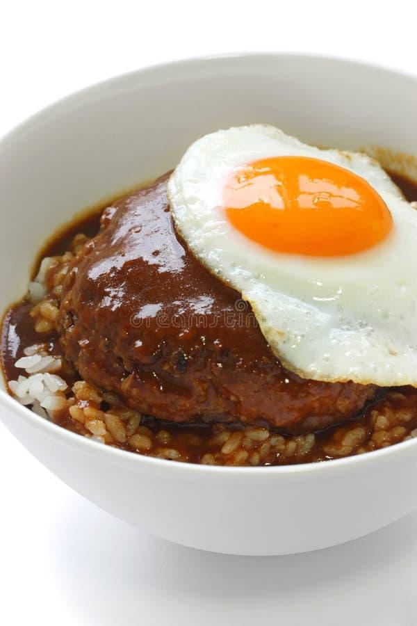 pucharu naczynia hawajczyka loco moco ryż obraz stock