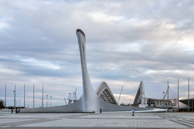 Pucharu Olimpic płomień i Fischt stadium w Sochi Rosja zdjęcie royalty free