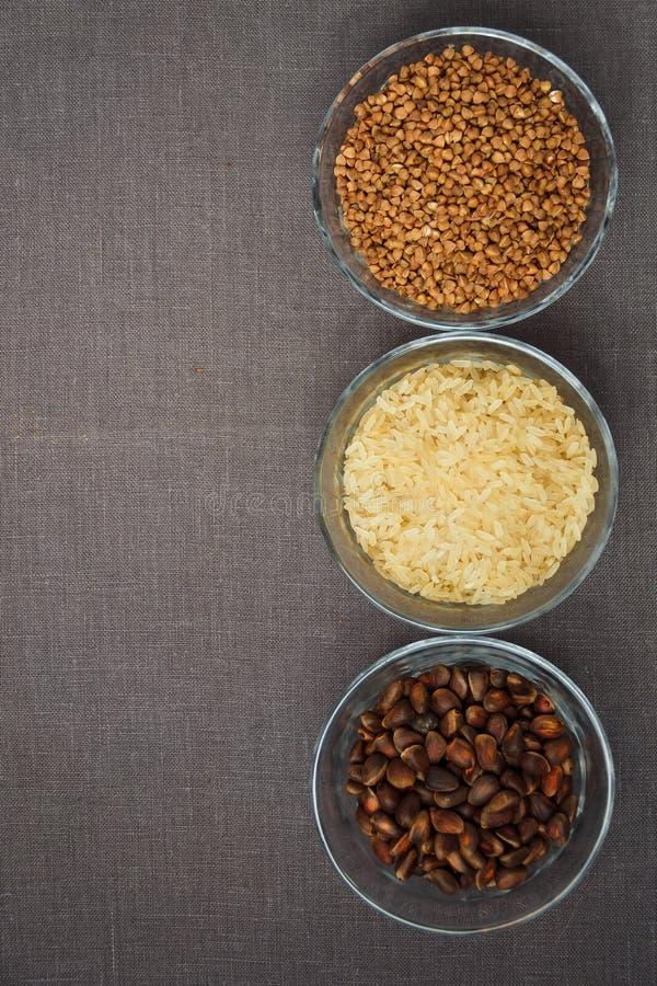 Puchary różnorodny gluten uwalniają produkty zdjęcie royalty free