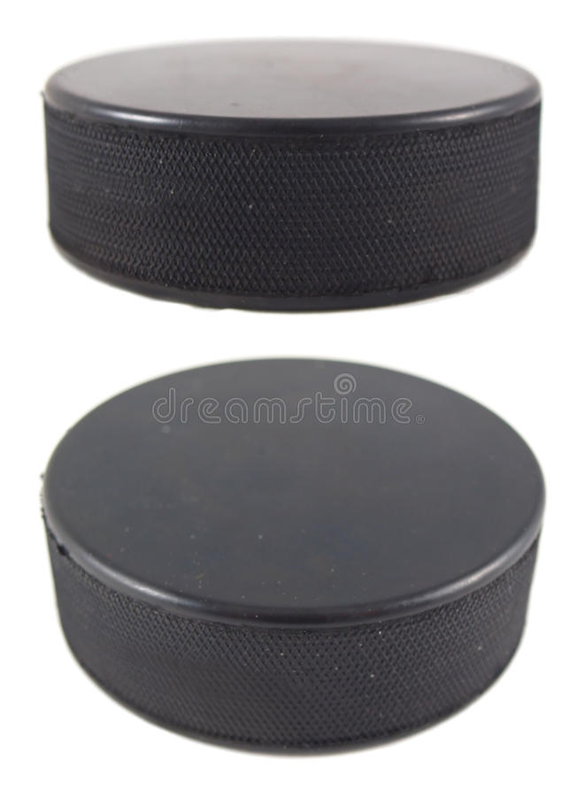Puck. Photo of puck isolated on white royalty free stock photos