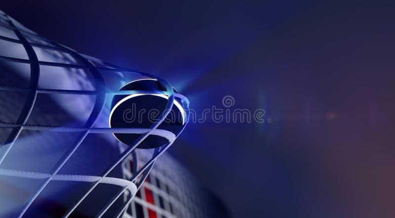 Puck in netto van ijshockeydoel royalty-vrije illustratie
