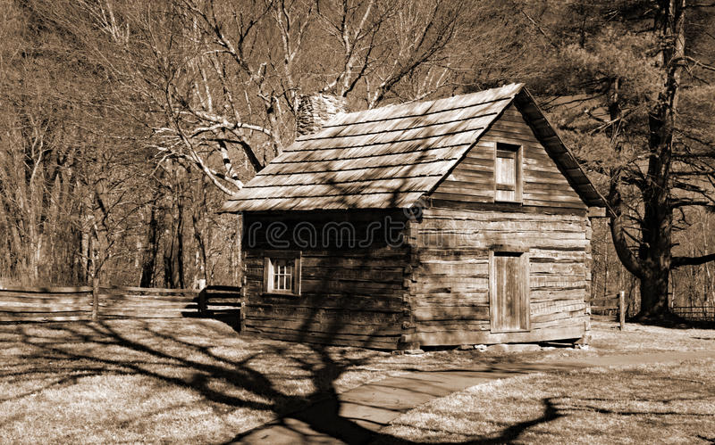 Puckett's Cabin Blue Ridge Parkway, Virginia, USA. Carroll County, Virginia USA – March 8th: The Puckett cabin on Groundhog Mountain located on the stock image