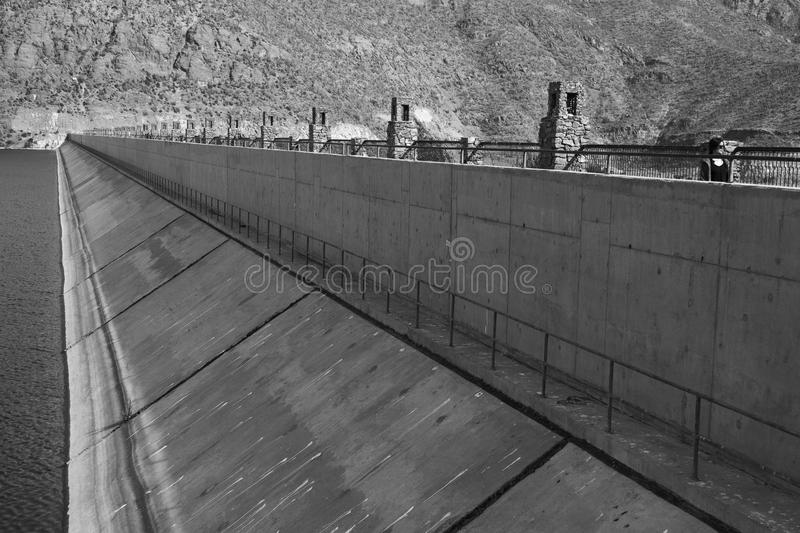 Puclaro Dam in Central Valley of Chile Black and White stock photography