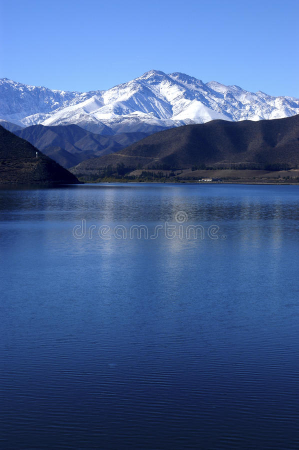 Puclaro reservoir in Chile. stock images