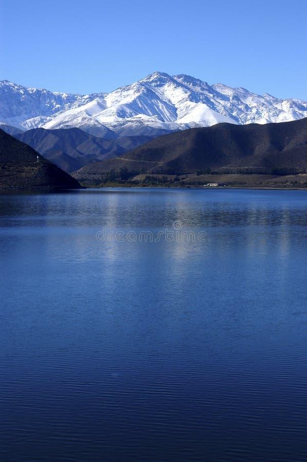 Puclaroreservoir in Chili. stock afbeeldingen