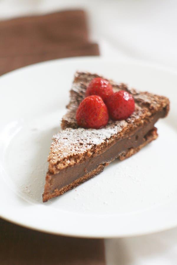 Pudín de chocolate con las bayas y el azúcar en polvo foto de archivo