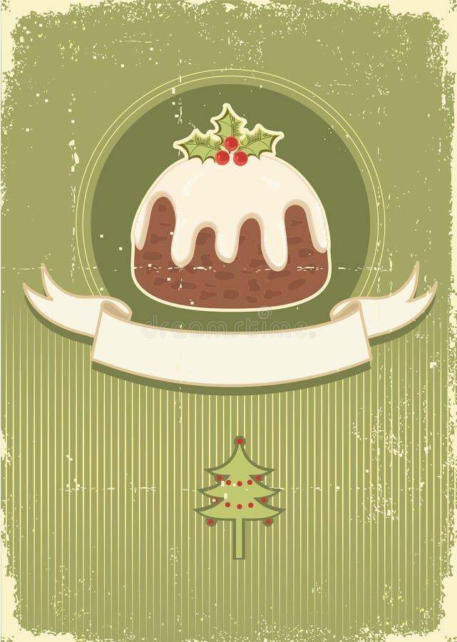 Pudín de la Navidad de la vendimia en vieja textura de papel stock de ilustración