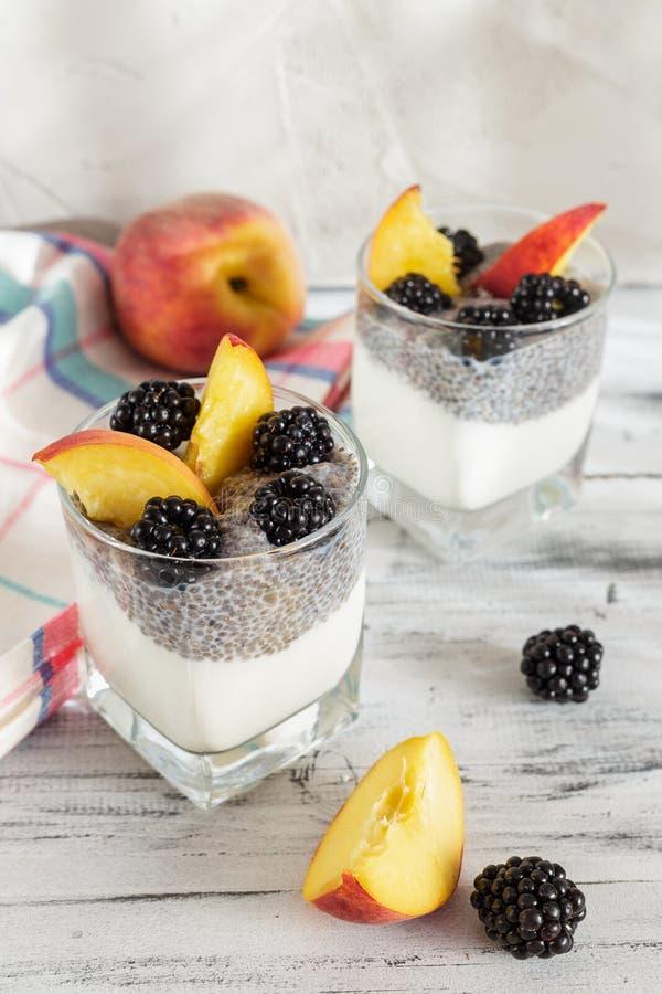 Pudín de la semilla de Chia con el yogur y las frutas imagen de archivo libre de regalías